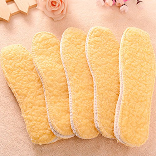 Spritech(TM) Soft Winter Warm Thickening Yellow Imitation Wool Insole for Women and Men Chart House Column