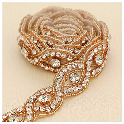 (Rose Gold Rhinestone Applique 1 Yard Bridal Applique Beaded Embellishments for Women Formal Dresses Sewn or Hot Fix)