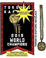 Toronto Raptors Flag with Bonus Necklace Bundle 2019 NBA World Champions Banner (3ft by 5ft) by Legendary Sports™