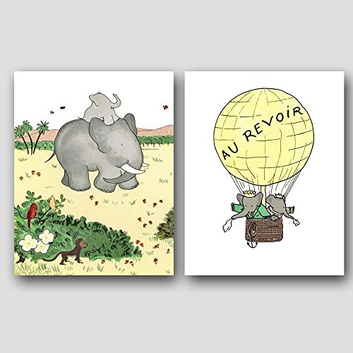 (Set of 2) Yellow Nursery Art, Babar the Elephant Prints, Baby Wall Decor)