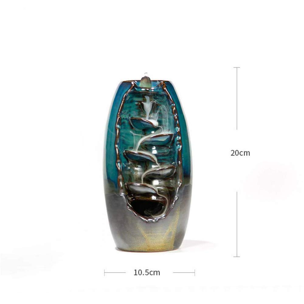 QIAN SHENG Ceramic Waterfall Backflow Incense Burner Ceramic Incense Sticks Holder Gift Home Decoration Statue Ornament