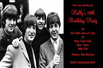 10 X Personalised The Beatles Theme Party Invitations Amazon Co Uk