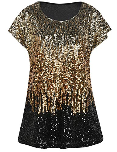 PrettyGuide Women's Evening Tops Sparkle Shimmer Glam Sequin Blouse Light Gold/Gold/Black XL/US18-20 -