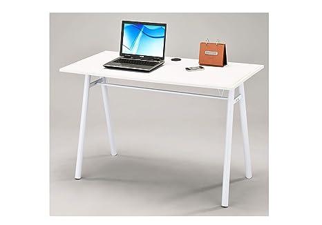Bureau cm meuble informatique blanc table pied métal salon