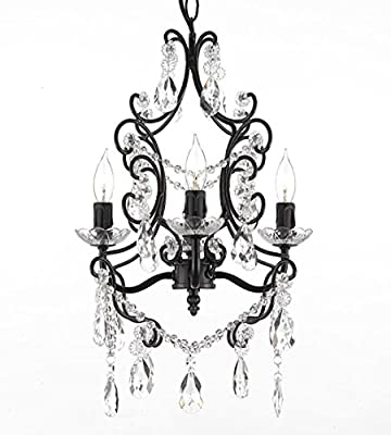 Wrought Iron and Crystal 4 Light Black Chandelier Pendant Lighting Fixture Ceiling Lamp Hardwire and Plug In