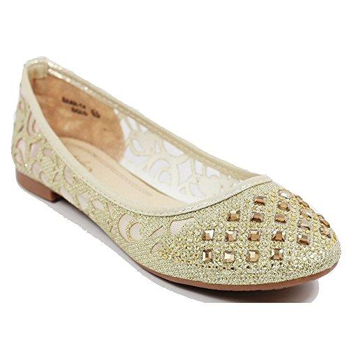 Vrouwen Casual Strass Glitter Mesh Slip Op Ballet Platte Lightweigh Dana14 Champagne