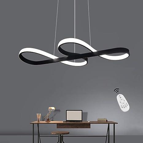 Lámpara Colgante LED, ZMH Luz de Techo Iluminación Pendiente Araña 38W Luz y Altura Adjustable (3500-6500k) con Control Remoto de Silicona y Alumnio ...