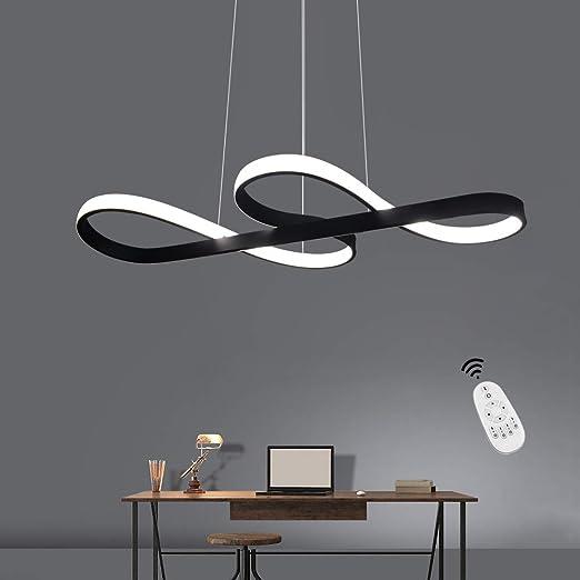 Lámpara Colgante LED, ZMH Luz de Techo Iluminación Pendiente Araña 47W Luz y Altura Adjustable (3500-6500k) con Control Remoto de Silicona y Alumnio ...