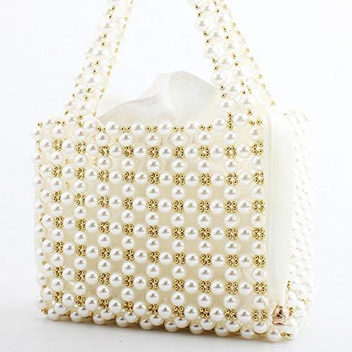 Borsa tessuti femminili maniglia ricamo colore Perline a Borse mano da da bianco pranzo La Bianco per festivi donna Perline FCPd4nwqxw
