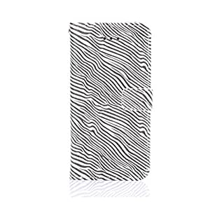 Zebra Stripe Stand Leather Magnetic Folio Protective Phonecase Card Holders Wallet Cover for Apple iPhone6 4.7 Inch Black
