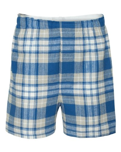 Boxercraft Adult Classic Flannel Boxers - Royal/ Silver - 2XL