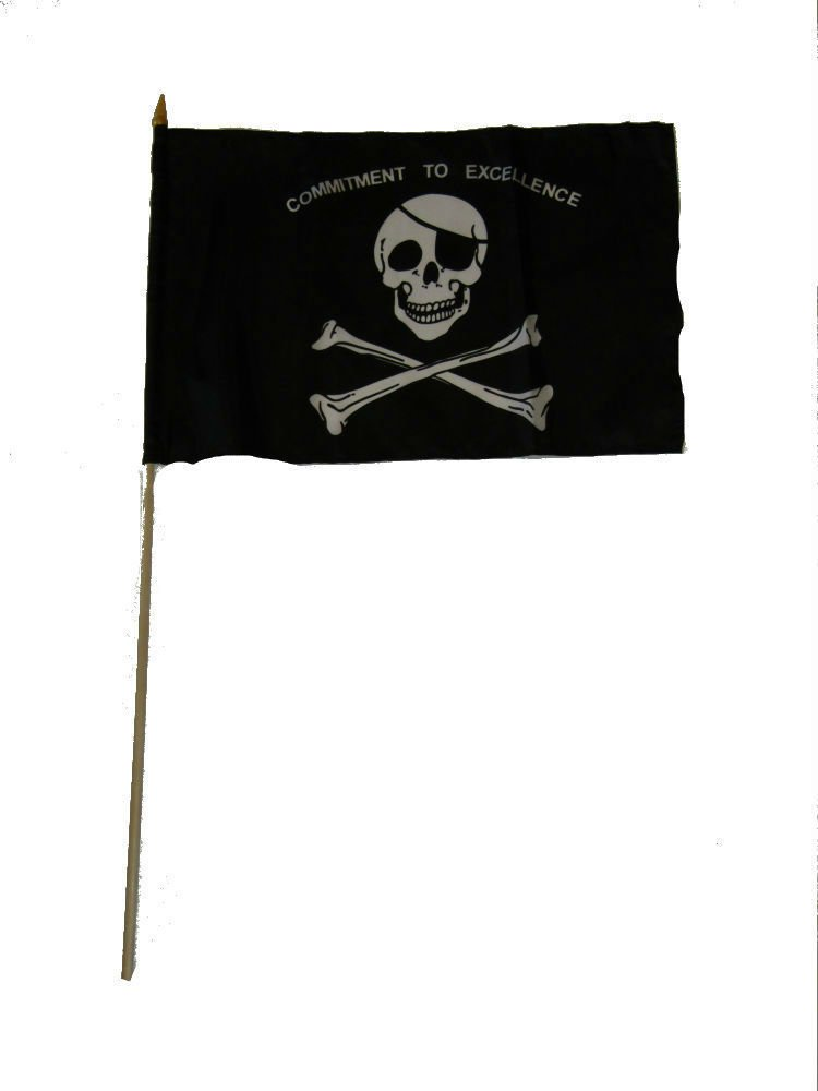 ALBATROS 12 inch x 18 inch (Pack of 12) JR Pirate Commitment to Excellence Stick Flag for Home and Parades, Official Party, All Weather Indoors Outdoors by ALBATROS