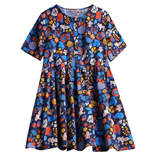 (Women Summer Tops GREFER Retro Women's Short Sleeve Floral Printed Button-Down Shirts Pleat Mini Shirt Dress Navy)