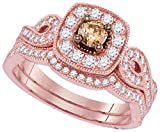 14k Rose Gold Round Chocolate Brown Diamond Bridal Wedding Engagement Ring Band Set 3/4 Ctw