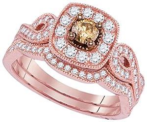 Size 7 - 14k Rose Gold Round Chocolate Brown Diamond Bridal Wedding Engagement Ring Band Set 3/4 Ctw