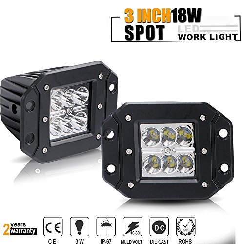 TURBOSII 4pcs 3x3 led work light Cube Pods High Power 18W Spot LED Fog Light Kit w/Lower Bumper Double A-Pillar Mounting Brackets For 2014-16 Polaris RZR XP1000 ONLY (18w work light)