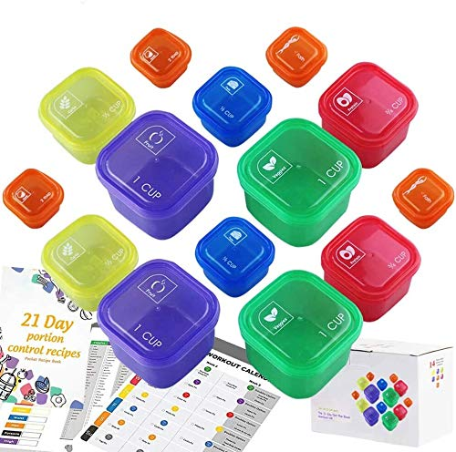 21 Days Containers and Food Plan Double Set (14-Pieces) – Portion Control Container Kit for Weight Loss – 21 Day Tally…