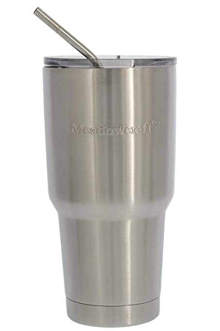ff319b72ed2 Meadowcraft Double Wall Vacuum Insulated Stainless Steel Tumbler  w/Stainless Steel Straw & Triton Lid – BPA-Free – Keeps Drinks Hot/Cold –  ...