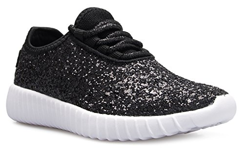 OLIVIA K Kids Girls Boys Easy On Casual Fashion Sparkly Glitter Sneakers - Comfort, Lightweight -