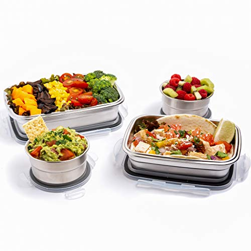 Stainless Steel Food Containers for Kids & Adults - Leakproof Lunch Box set of 4 (2 full size meal containers + 2 Dressing & Snack Container) (Life Stainless Steel)
