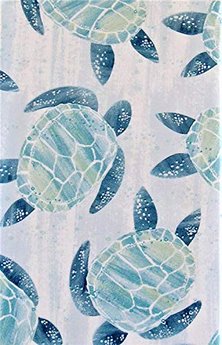 - Sea Turtles Abstract Vinyl Flannel Back Tablecloth (52