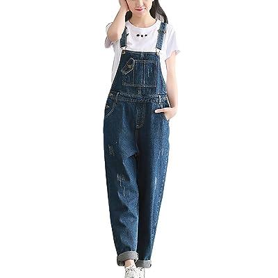 Femme Jeans Boyfriend Loose Salopette Combinaison En Jean Denim Pantalon Sarouel Casual