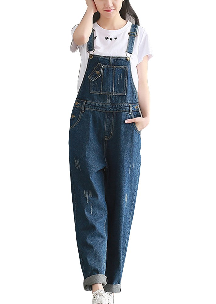 Mujer Chicas Peto Vaquero Mono Pantalones Anchos Pantalones Harem Largo Casual Elegante Fiesta Boyfriend Jeans