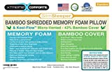 Xtreme Comforts Slim Hypoallergenic Bamboo Shredded Certipur Memory Foam Pillow with Super Soft Kool-Flow Micro-Vented Dust Mite Resistant Machine Washable Bamboo Cover - Made in USA -Queen