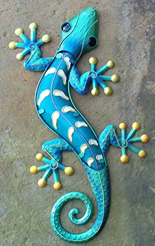 Chsgjy Vintage Large Handcrafted Metal Gecko 24 Inches
