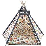 Sällskapsdjur tält för hundar och katter - tipi med kudde katt korg kudde - tvättbar (S, Style 11)