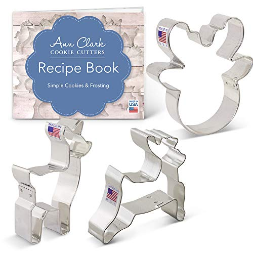 Reindeer/Deer Cookie Cutter Set - 3 piece - Reindeer Head, Fawn/Deer, Reindeer - Ann Clark - USA Made Steel