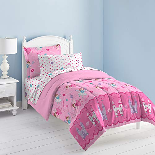 Set Bedding Brands - Dream Factory Magical Princess Ultra Soft Microfiber Girls Comforter Set, Pink, Twin