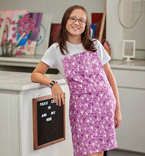 Purple Bunny Kitchen Art Craft Apron Gift for Tween Girl from Sara Sews, Inc.