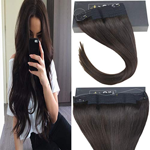 Sunny 18inch Wire Hair Extensions Human Hair Darkest Brown #2 Halo Real Human Hair Extensions No Glue 11inch Width 80g Per Package