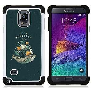 - WHALE OCEAN SEA VIGNETTE BOOK SAILS - - Doble capa caja de la armadura Defender FOR Samsung Galaxy Note 4 SM-N910 N910 RetroCandy