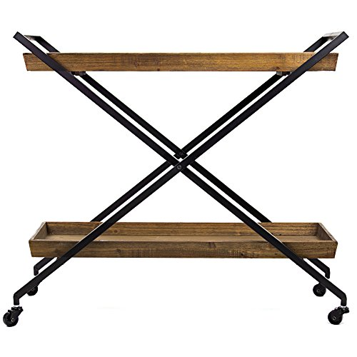 American Art Décor Rustic Wood Metal Bar Cart Table Tray Storage Shelves on Wheels – Vintage Country Farmhouse Décor