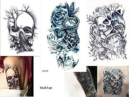 3 Laminas De Tatuajes De Calavera Para El Brazo Amazon Es Belleza