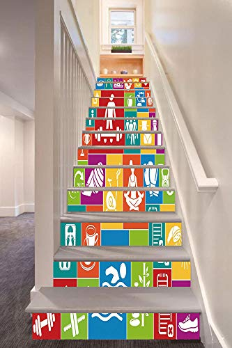 - Fitness 3D Stair Riser Stickers Removable Wall Murals Stickers,Different Colorful Fitness Icons Healthy Lifestyle Motivation Activity Weight Loss Decorative,for Home Decor 39.3