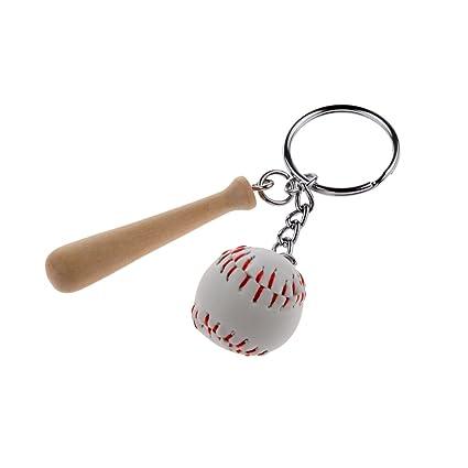 Juguetes Juegos Colgantes Decoración Llaveros Forma Mini Bate Béisbol Madera - Blanco