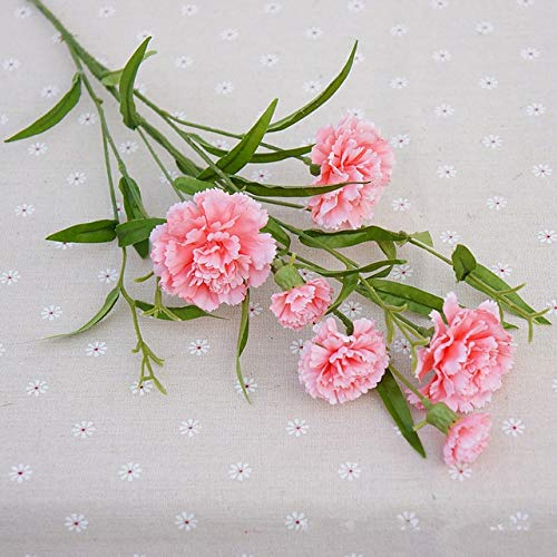 (ShineBear 10 Colors Long Miniature Carnation Flower Carnation Decoration Living Room Mother's Day Teacher's Day Gift Simulation Flower - (Color: Flesh Pink))