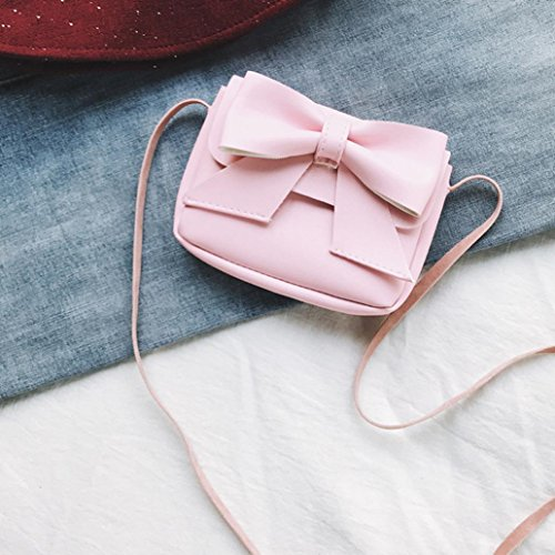 Mini Girls Bag Handbag Bag Fashion Pink Shoulder Bowknot Leather Women Color Solid Muium Crossbody 1wCqv5