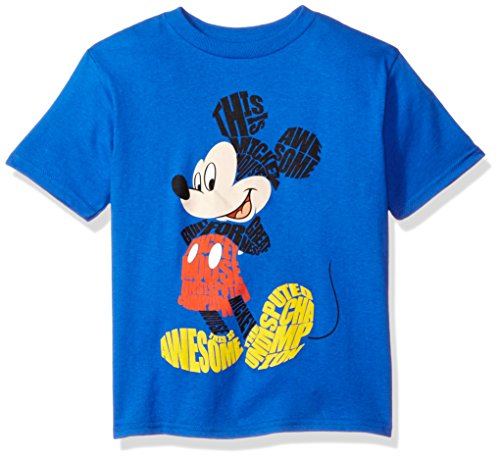 Disney Little Boys' Mickey Mouse Short Sleeve T-Shirt, Blue, 7