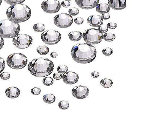 1440 Pieces Clear Crystal Flatbacks Flat Back Rhinestones Round Crystal Gems for Crafts Face Body Eyes Nails Makeup Festival Carnival Mix Size 1.4 mm - 4 - Plate Face Gem