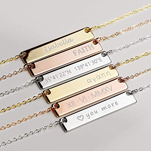 SAME DAY SHIPPING Before 12pm Custom Engraved Necklace for Mom Christmas Gift for Women Birthday Wedding Personalized Name Necklace Gold Nana Necklace Graduation Gift for Her - 4N