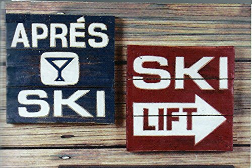 Ski Lodge Hand Carved Wood Plank Wall Decor 12 inch Signs, Set of 2 (Party City Utah)