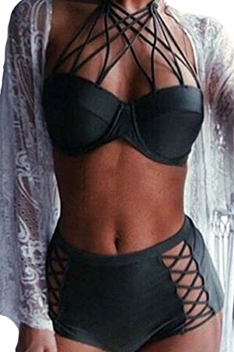 Best Review Of JE Black Strappy Push-up High Waist Bikini Set Swim Bathing Suit Swimwear ((US 10-12)...