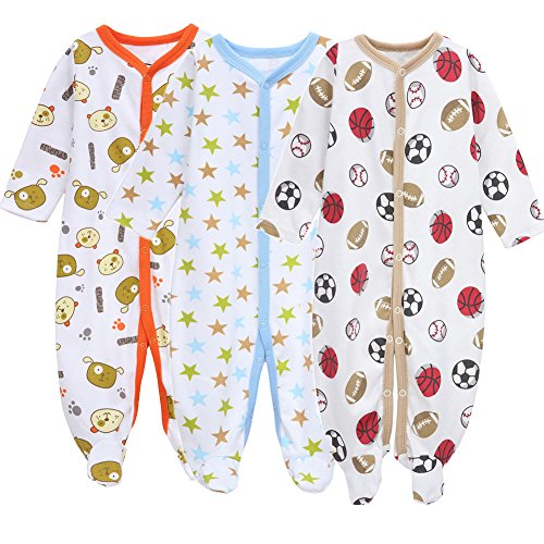 Front Sleeper Footed Snap (Exe-maba Baby Boys Footed Sleeper Pajamas-Toddler Infant Cotton Long Sleeved Sleep and Play Romper (10-12 Months))
