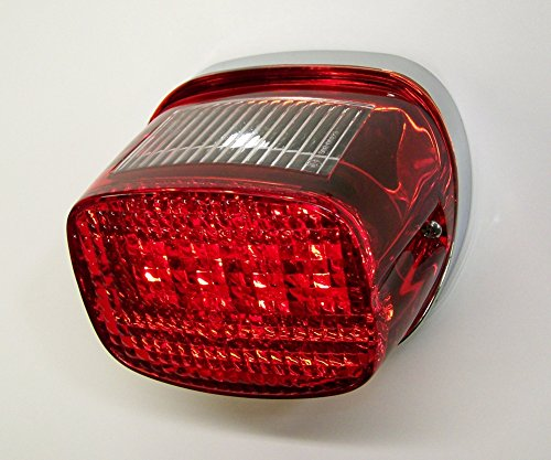 Corner Strobe - Bright Ass Lights Taillight with Multiple Strobe Patterns for Harley Davidson Models - Squareback Style with Red Lens and License Plate Window