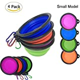 CooleedTEK 4-Pack Silicone Collapsible Dog Bowls with Karabiner(1.5 Cups,12oz), Portable Foldable Expandable BPA Free Travel Pet Food Water Feeding Bowl for Dog & Cat