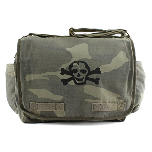 Price comparison product image Canvas Messenger / Diaper Bag, Camo with Black Scribble Skull